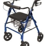 Lumex Walkabout Four-Wheel Contour Deluxe Rollator with Ergonomic Hand Grips